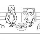 En la cocina: dibujo para colorear e imprimir