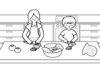En La Cocina Dibujo Para Colorear E Imprimir