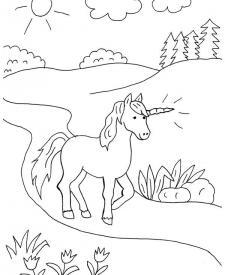 Unicornio Caminando Dibujo Para Colorear E Imprimir