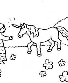El unicornio de la princesa: dibujo para colorear e imprimir