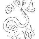 Utensilios de bomberos: dibujo para colorear e imprimir