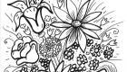 Flores silvestres: dibujo para colorear e imprimir