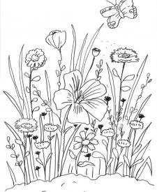 Flores y mariposa: dibujo para colorear e imprimir