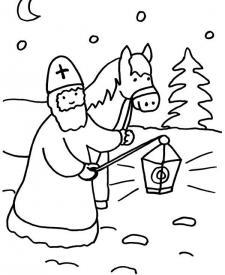 San Martín con linterna y caballo: dibujo para colorear e imprimir