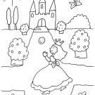 La princesa va al baile: dibujo para colorear e imprimir