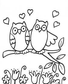 Búhos enamorados: dibujo para colorear e imprimir