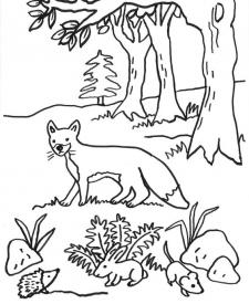 Un zorro y roedores: dibujo para colorear e imprimir