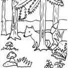 El zorro y los champiñones: dibujo para colorear e imprimir