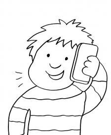 Niño hablando por teléfono: dibujo para colorear e imprimir
