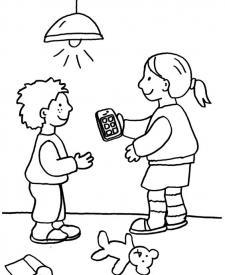 Niños pasándose el teléfono: dibujo para colorear e imprimir