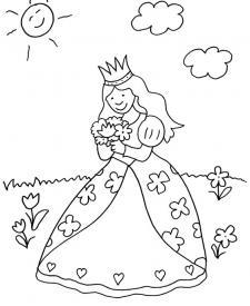 Princesa con flores: dibujo para colorear e imprimir