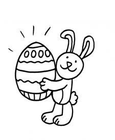Conejo y huevo de Pascua: dibujo para colorear e imprimir