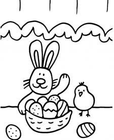 Conejo y pollito: dibujo para colorear e imprimir