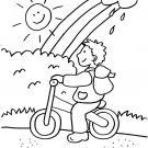 Niño montando en bici bajo el arco iris: dibujo para colorear e imprimir