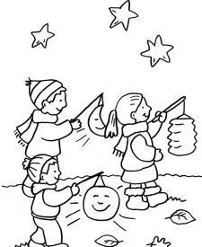 Niños con linterna bajo las estrellas: dibujo para colorear e imprimir