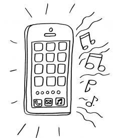 Teléfono sonando: dibujo para colorear e imprimir