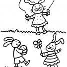 Conejo saltando a la comba: dibujo para colorear e imprimir