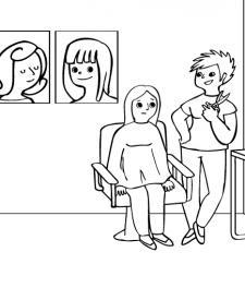 Peluquera: dibujo para colorear e imprimir