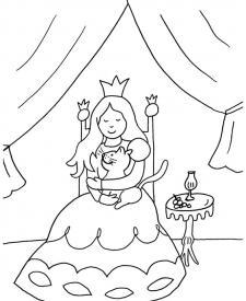 La princesa y su gato: dibujo para colorear e imprimir