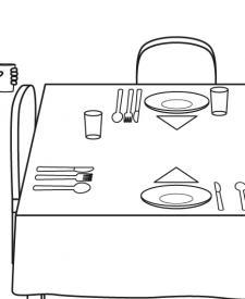 Niño poniendo la mesa: dibujo para colorear e imprimir