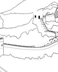 La Gran Muralla China: dibujo para colorear e imprimir