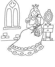La princesa y sus peinados: dibujo para colorear