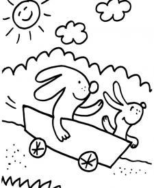 Conejos jugando: dibujo para colorear e imprimir