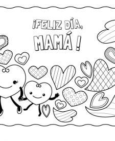 Corazones para el día de la madre: dibujo para colorear e imprimir