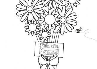 Ramo de flores para el día de la madre: dibujo para colorear e imprimir