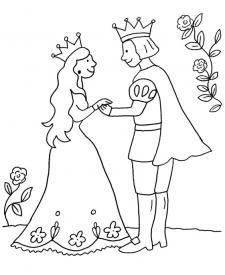 Princesa y príncipe: dibujo para colorear e imprimir