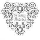 Corazón con flores para el día de la madre: dibujo para colorear e imprimir