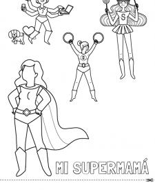 Mi supermamá: dibujo para colorear e imprimir