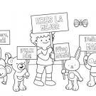Felicitación de los peluches: dibujo para colorear e imprimir