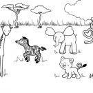 Día de la madre en la sabana: dibujo para colorear e imprimir