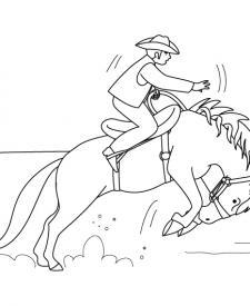 Vaquero y caballo: dibujo para colorear e imprimir