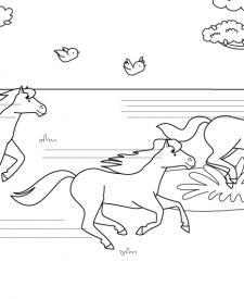 Carrera de caballos: dibujo para colorear e imprimir