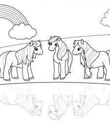Ponis bajo el arco iris: dibujo para colorear e imprimir