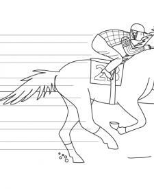 Caballo de carreras: dibujo para colorear e imprimir