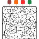 Colour by numbers: gato con rayas