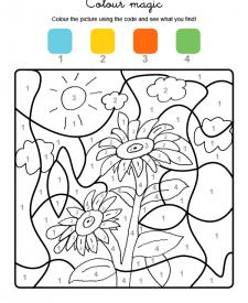 Colour by numbers: girasoles