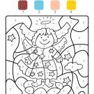 Colour by numbers: ángel de Navidad