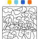 Colour by numbers: familia de patos