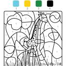 Colour by numbers: una jirafa en la sabana africana