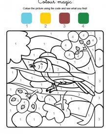 Colour by numbers: un pajarito cantando