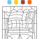 Colour by numbers: una cama con colcha y almohada
