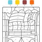 Colour by numbers: una cama con colcha y almohada