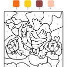 Colour by numbers: una gallina con sus polluelos