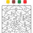 Colour by numbers: adornos de árbol de Navidad