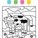 Colour by numbers: una vaca lechera en el campo