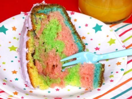 Receta de tarta multicolor